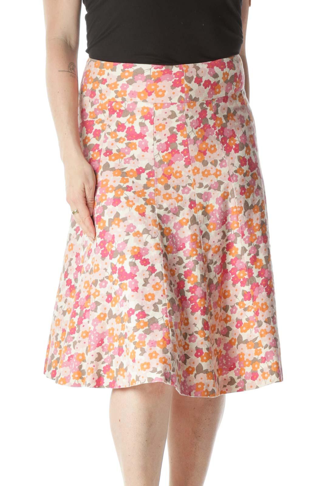 Pink Floral Paneled Skirt Front