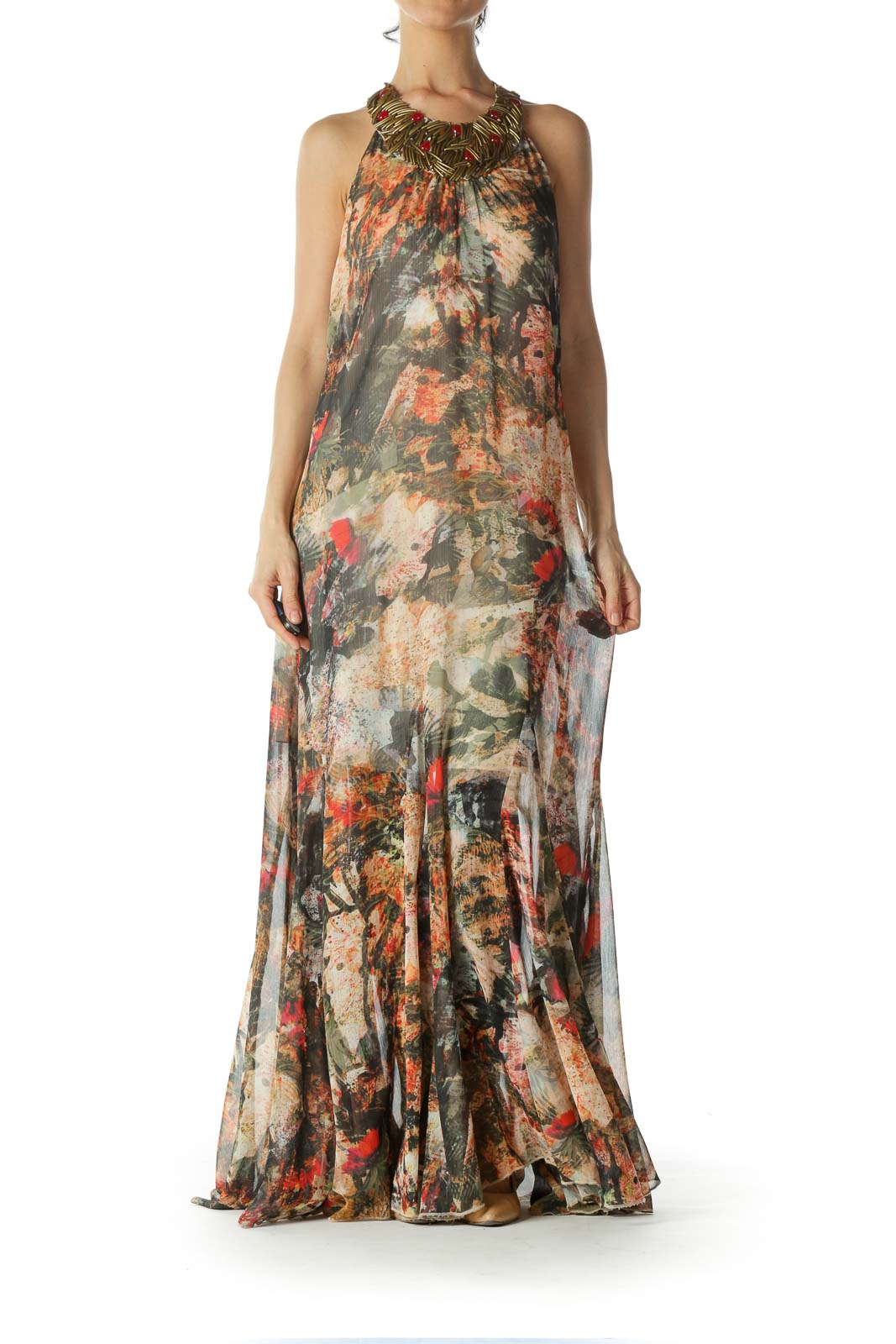 Brown Beaded Evening Dress Front