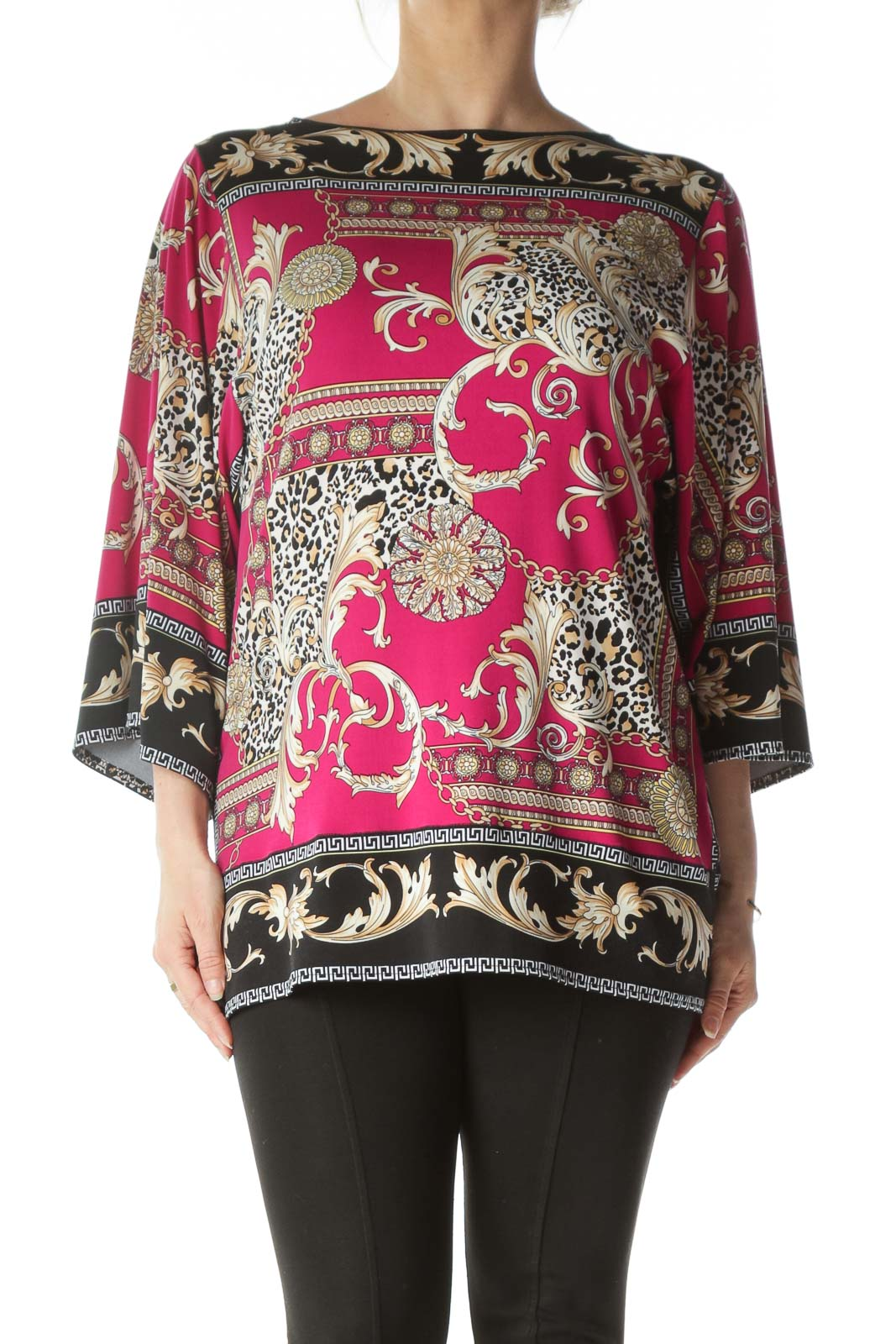 Pink Printed Bell Sleeve Front