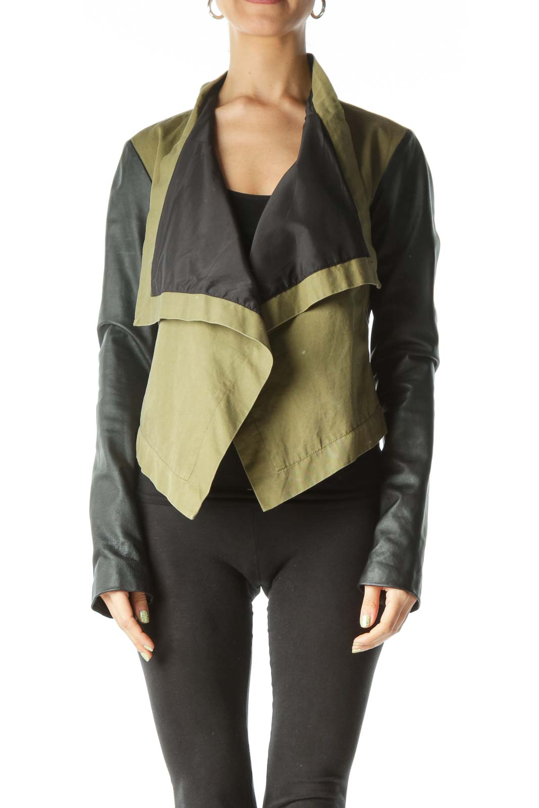Green Black Long Sleeve Leather Jacket Front