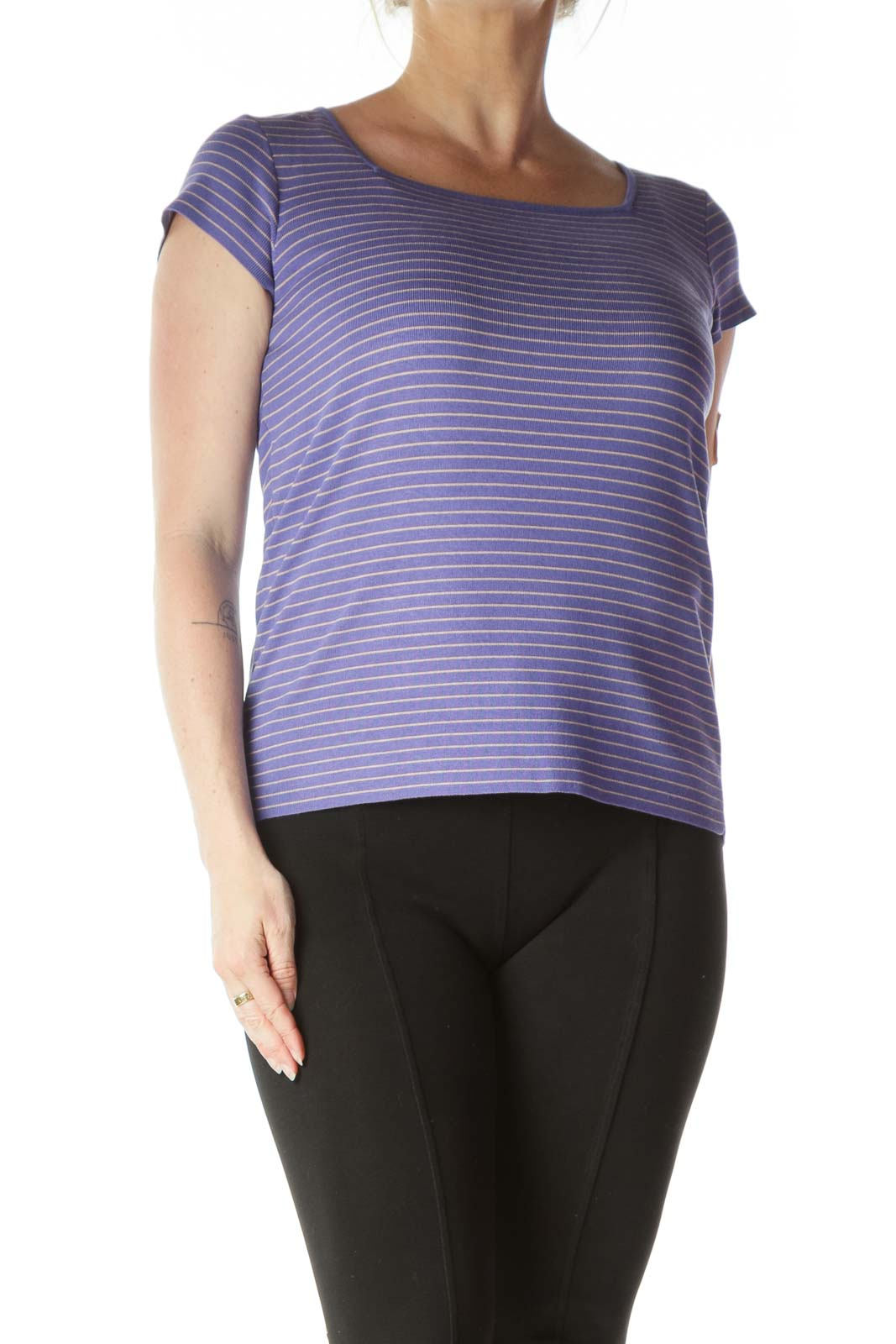 Purple Knit Square Neck Top Front