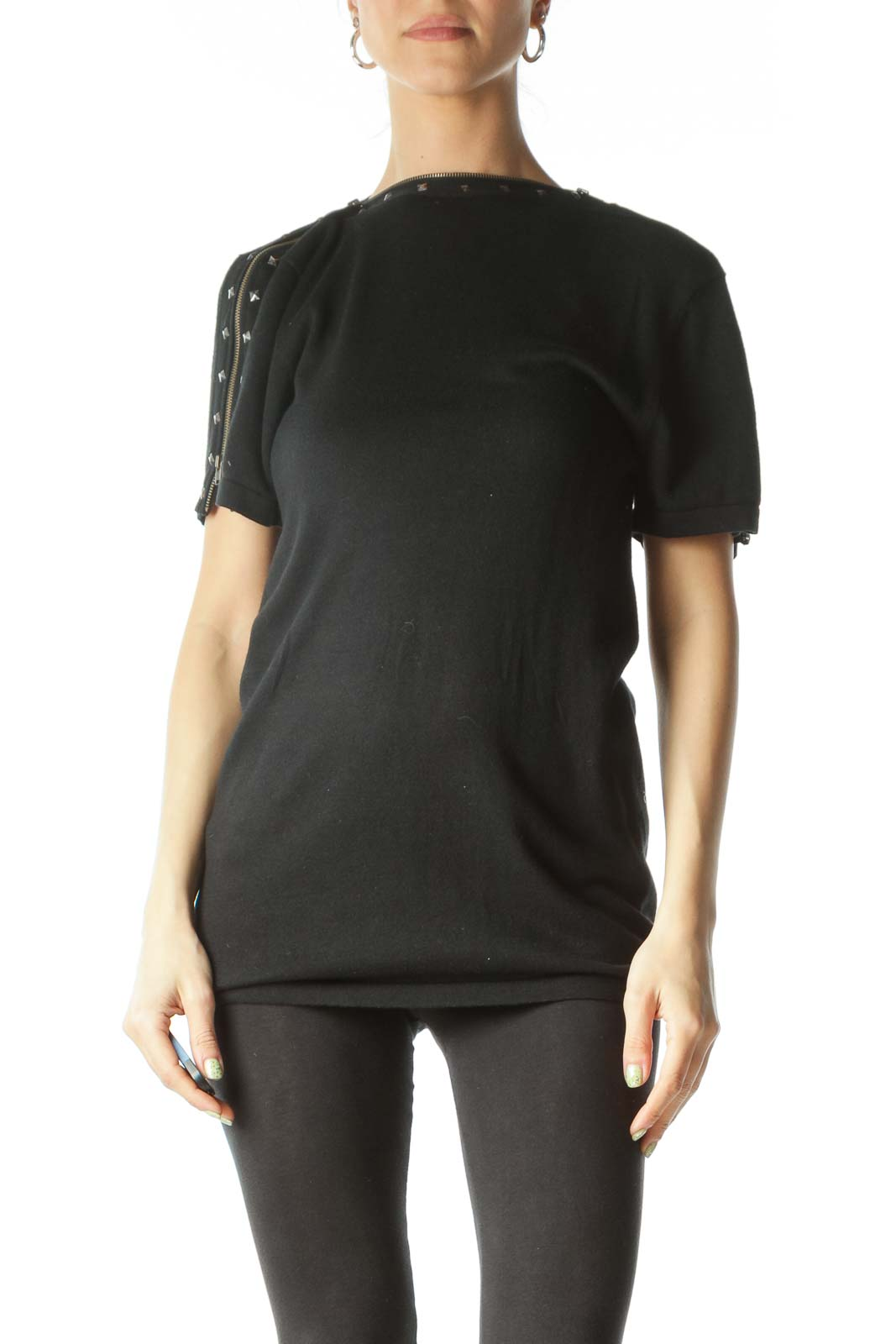 Black Shoulder Zippered Studded Tunic Top Front