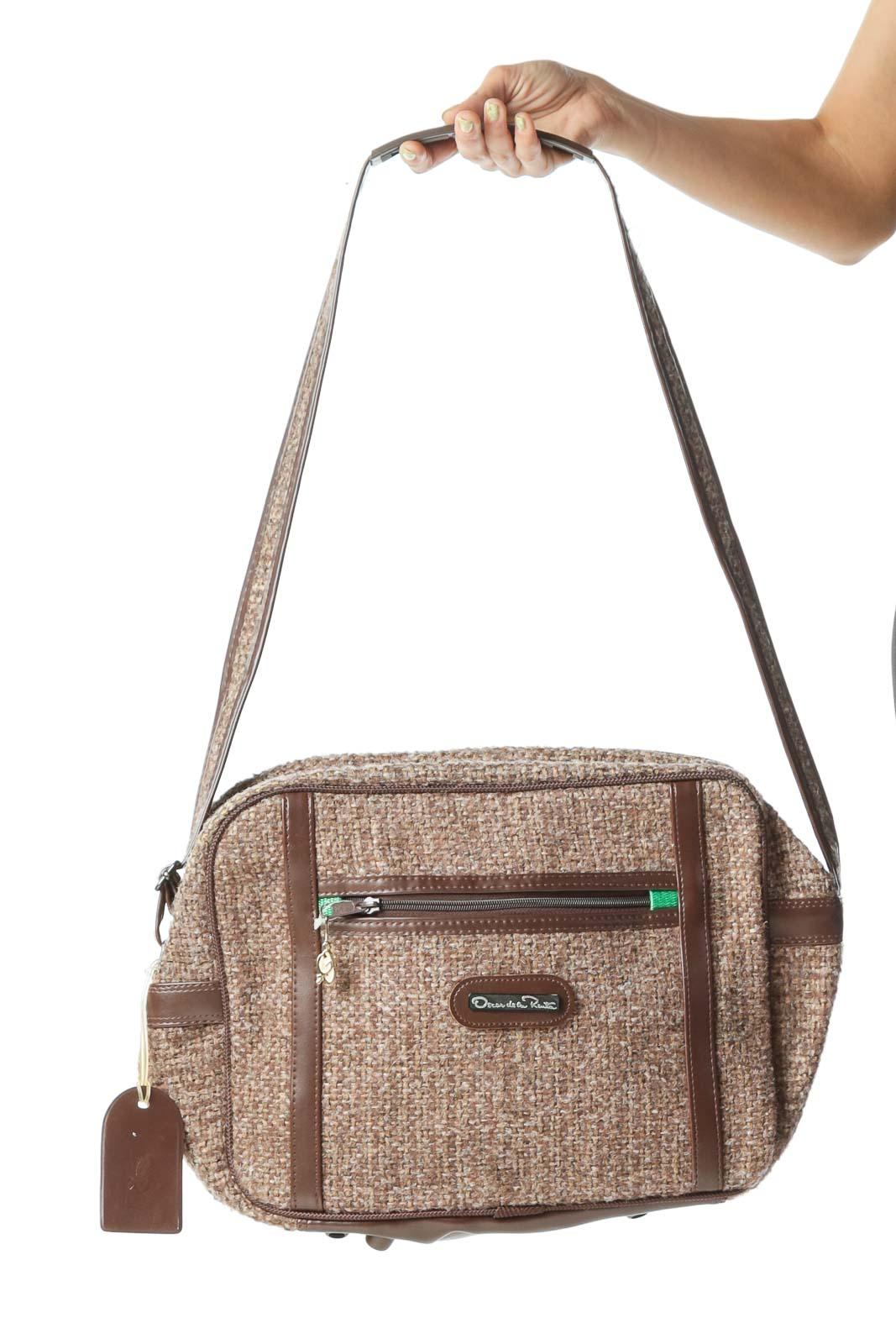 Brown Vintage Tweed Travel Shoulder Bag Front