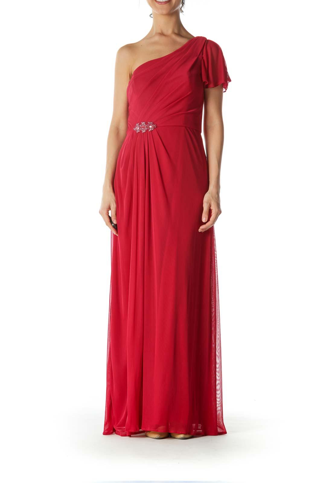 Red One Shoulder Evening Dress Front
