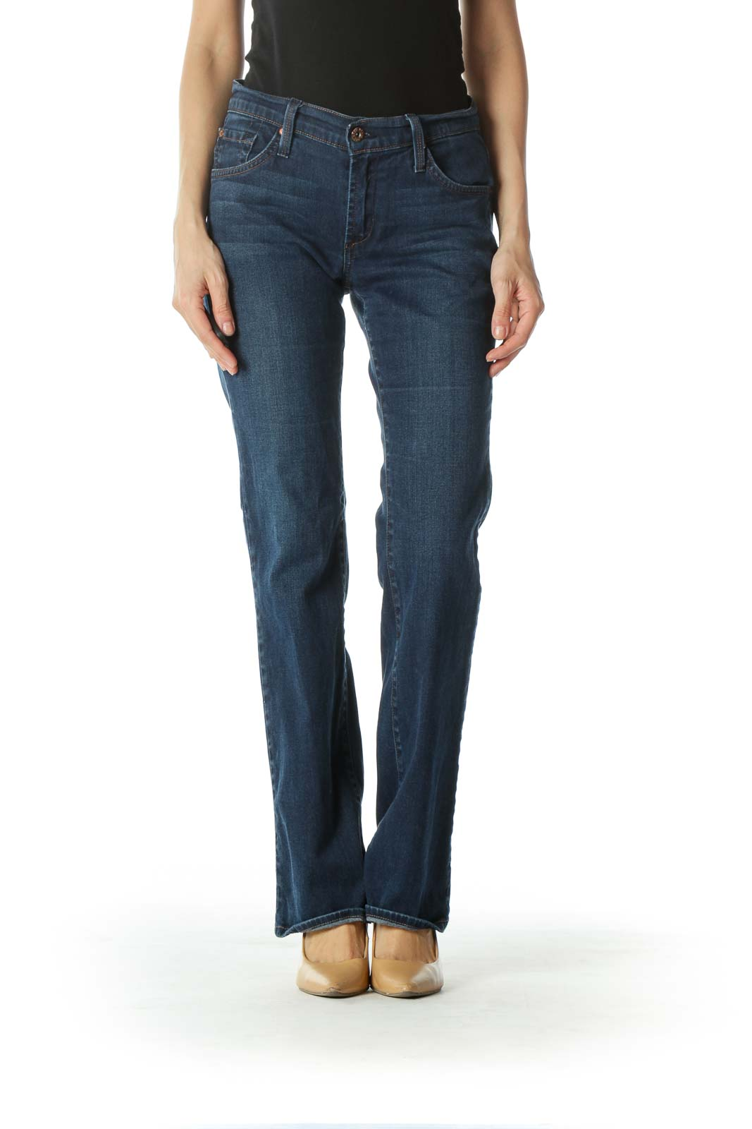 Blue Mid-Rise Boot-Cut Jeans Front