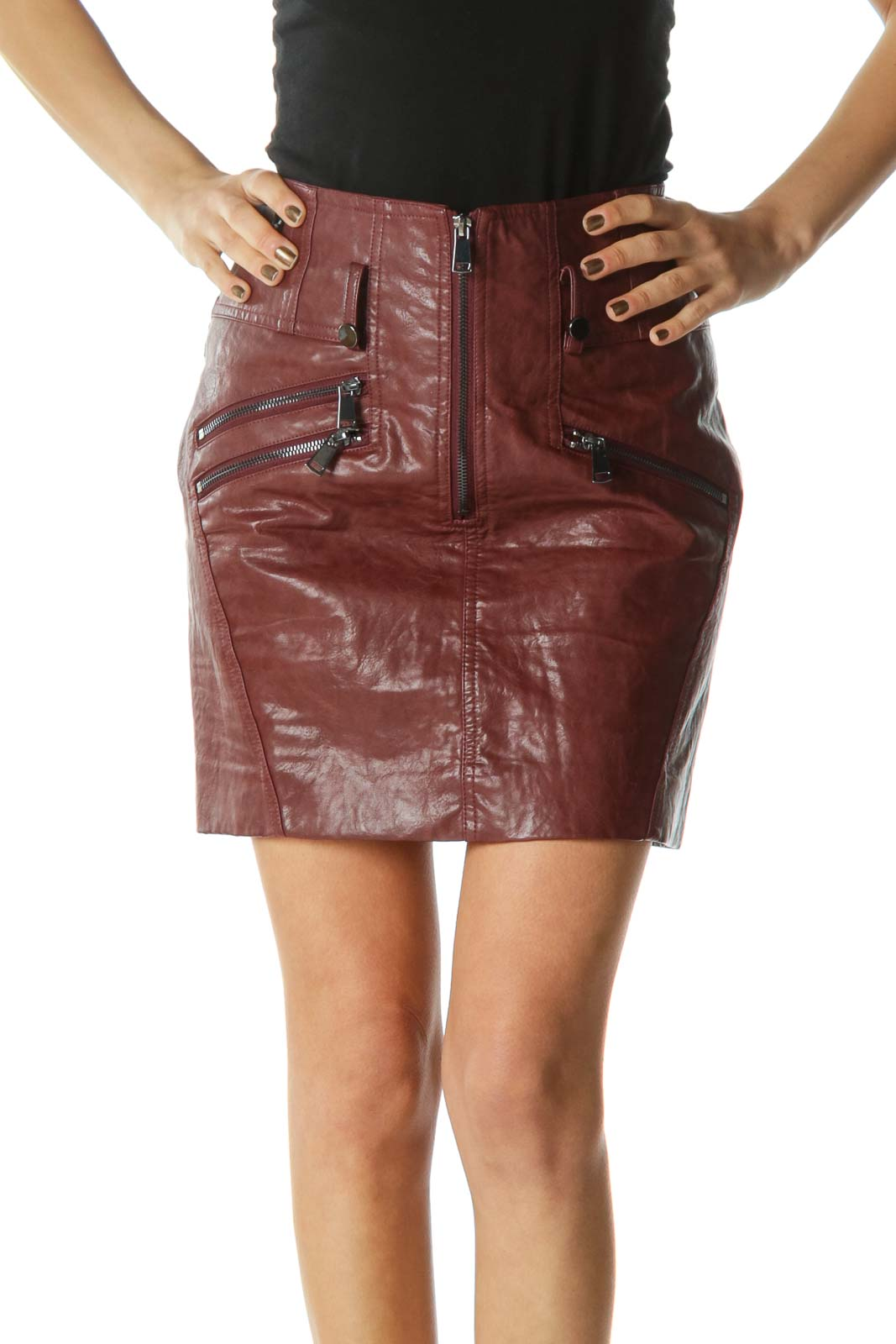 Brown Zippered Mini Skirt Front