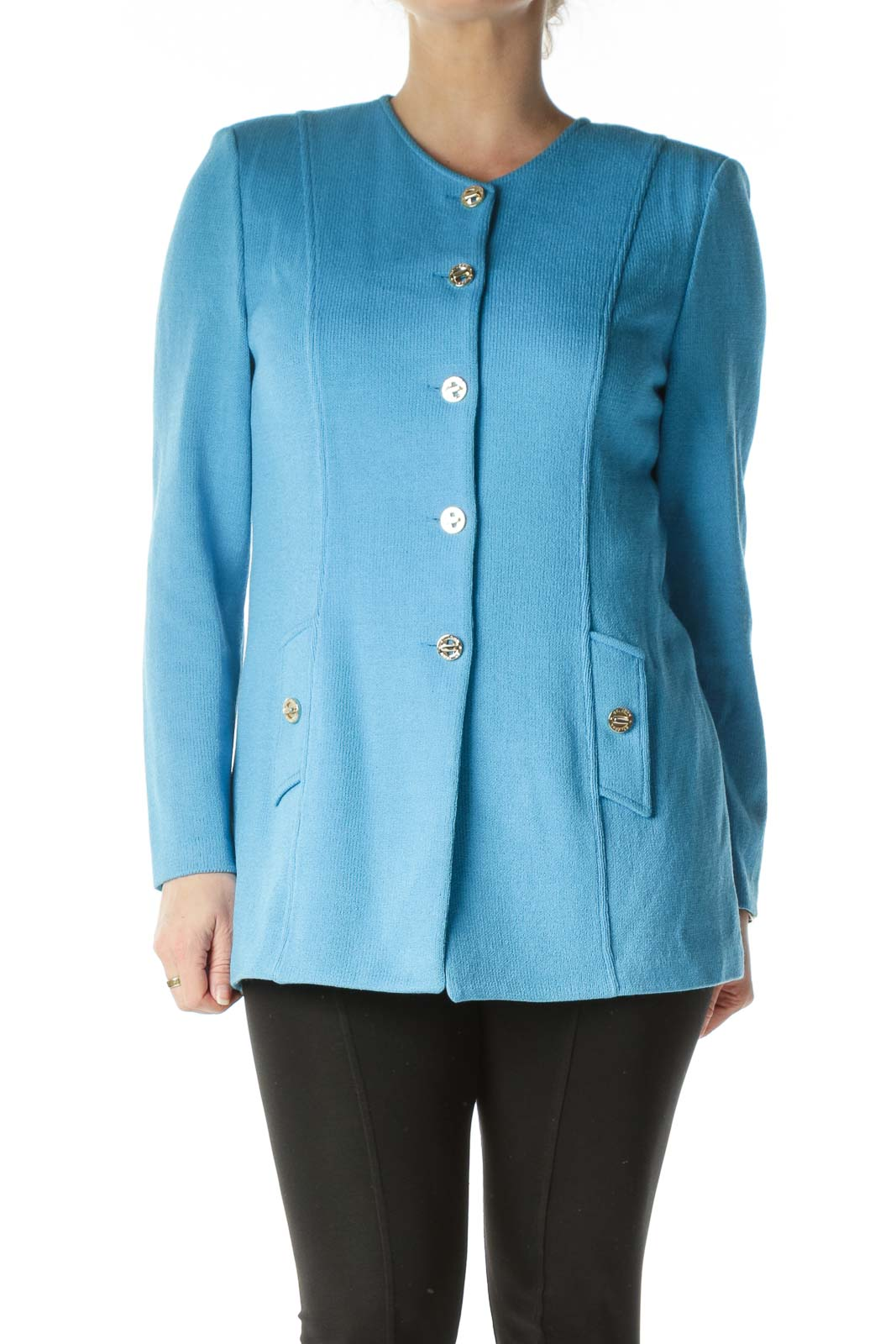 Blue Knit Gold Buttoned Long Cardigan Front