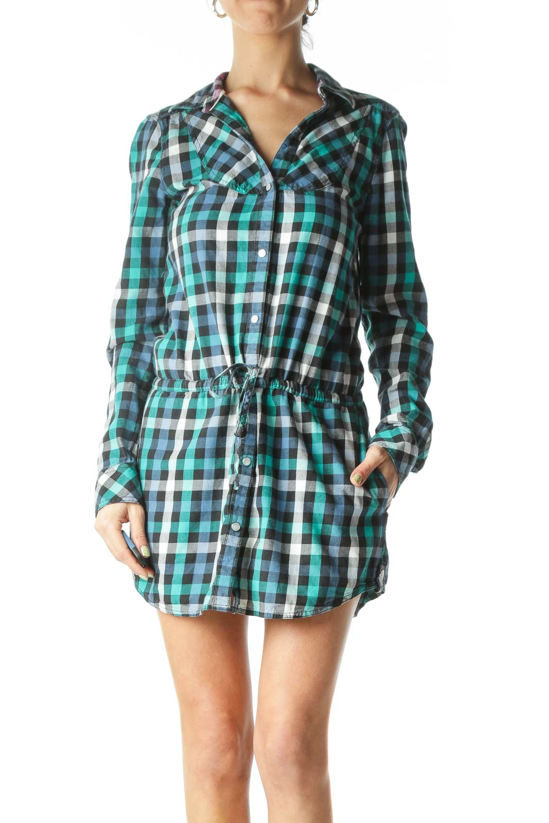 Blue Plaid Long Sleeve Shirt Dress Front