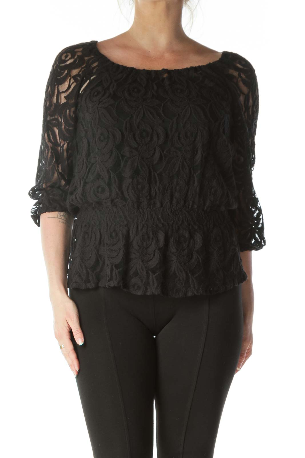 Black Sheer Lacey Round Neck Shirt  Front