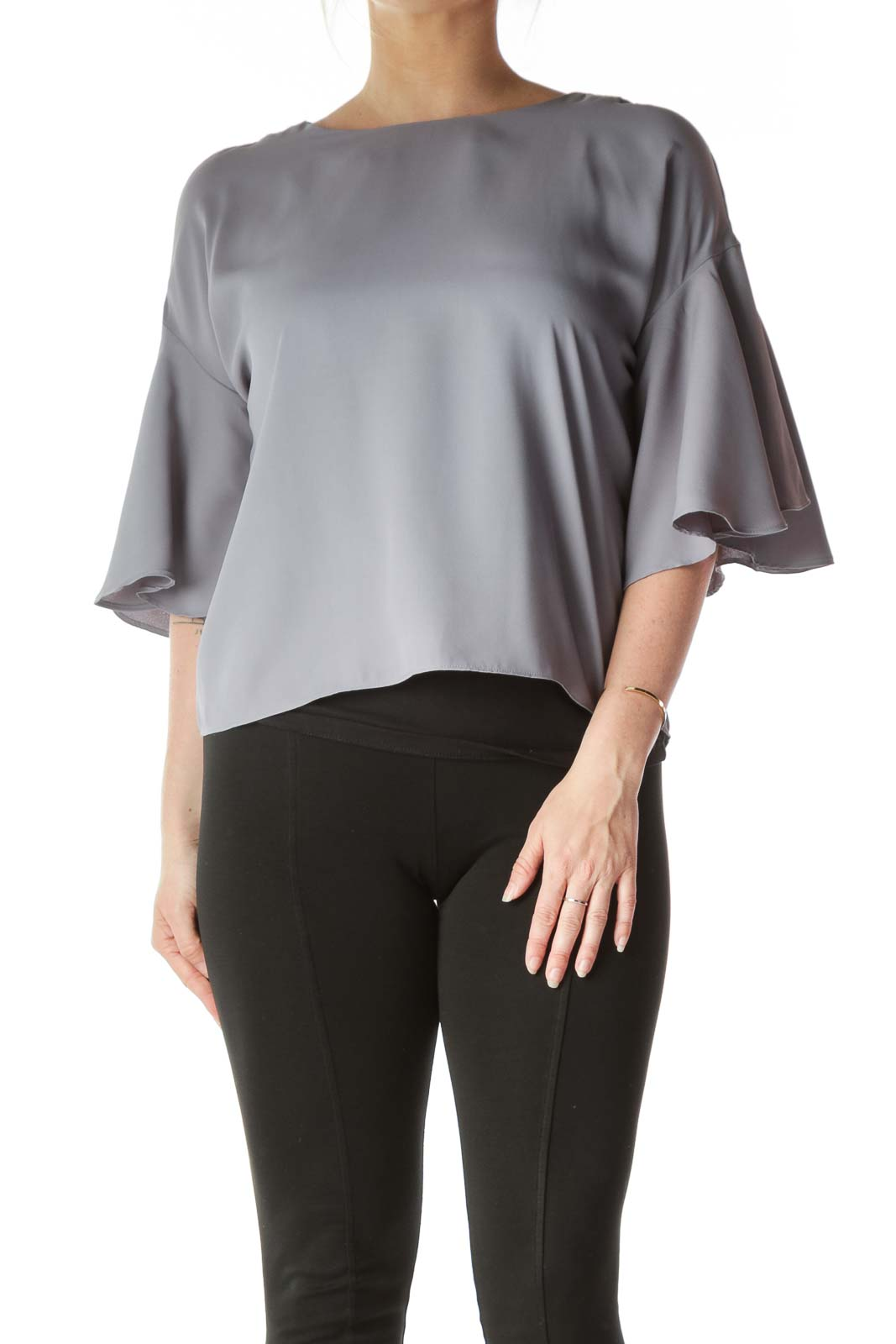 Grey Bell-Sleeve Blouse Front