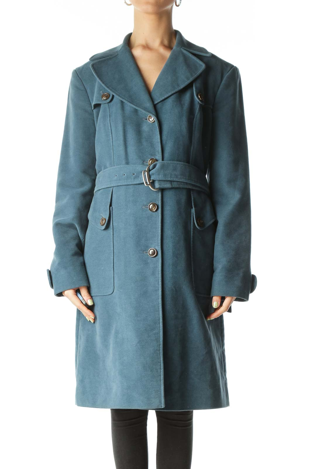 Blue Belted  Knee-Length Trench Coat  Front