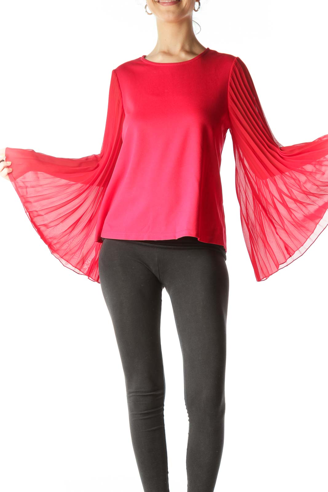 Red Pleated Bell-Sleeve Blouse Front