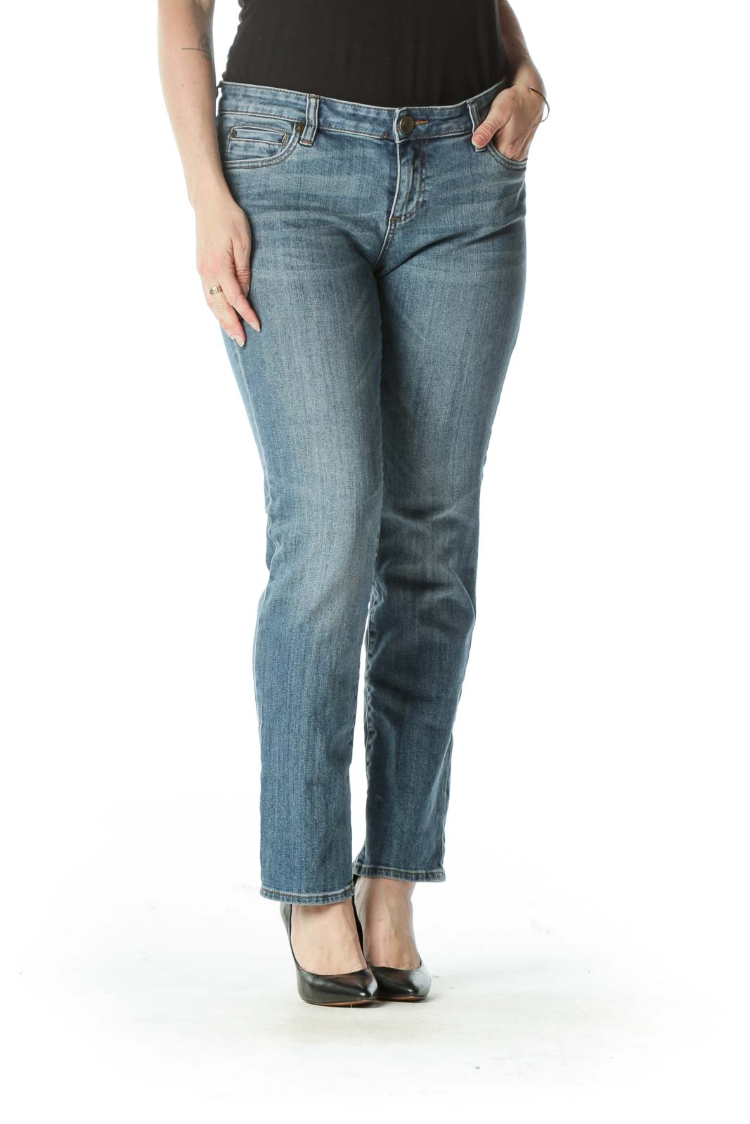 Blue Denim Zipper Fly Boyfriend Jeans Front