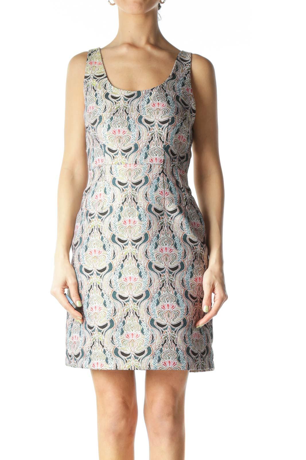 Multicolored Mock-Brocade Structured Mini Dress  Front