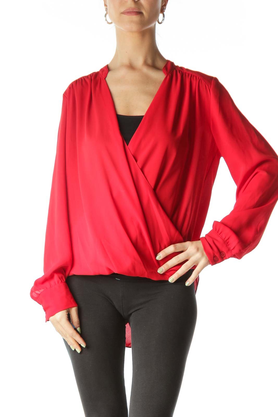 Red Sheer Draped Long Sleeve Blouse Front
