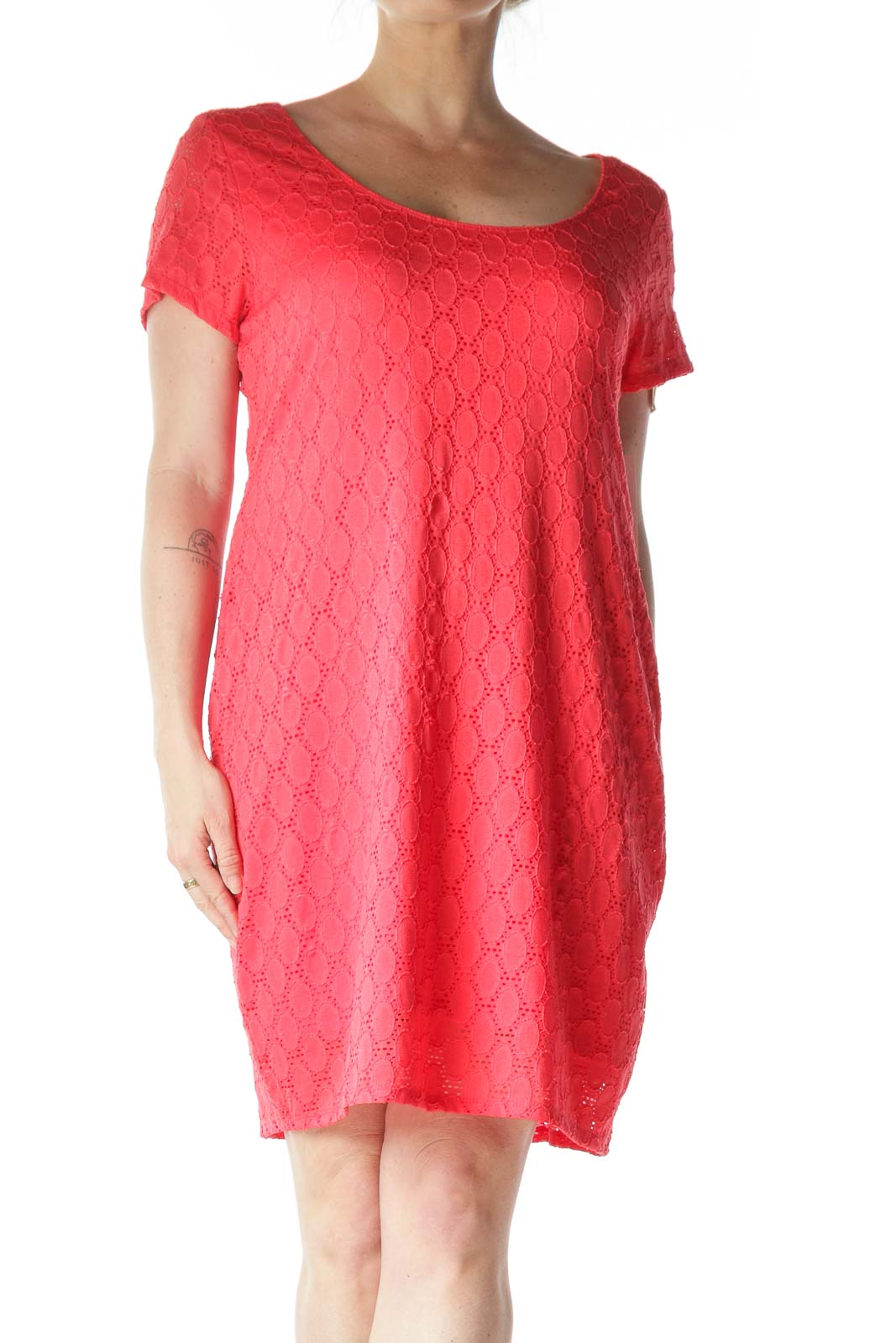 Pink Embossed T-Shirt Dress  Front