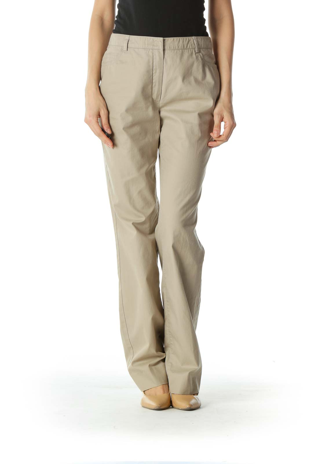 Beige Mid-Waist Designer Khaki Pant Front