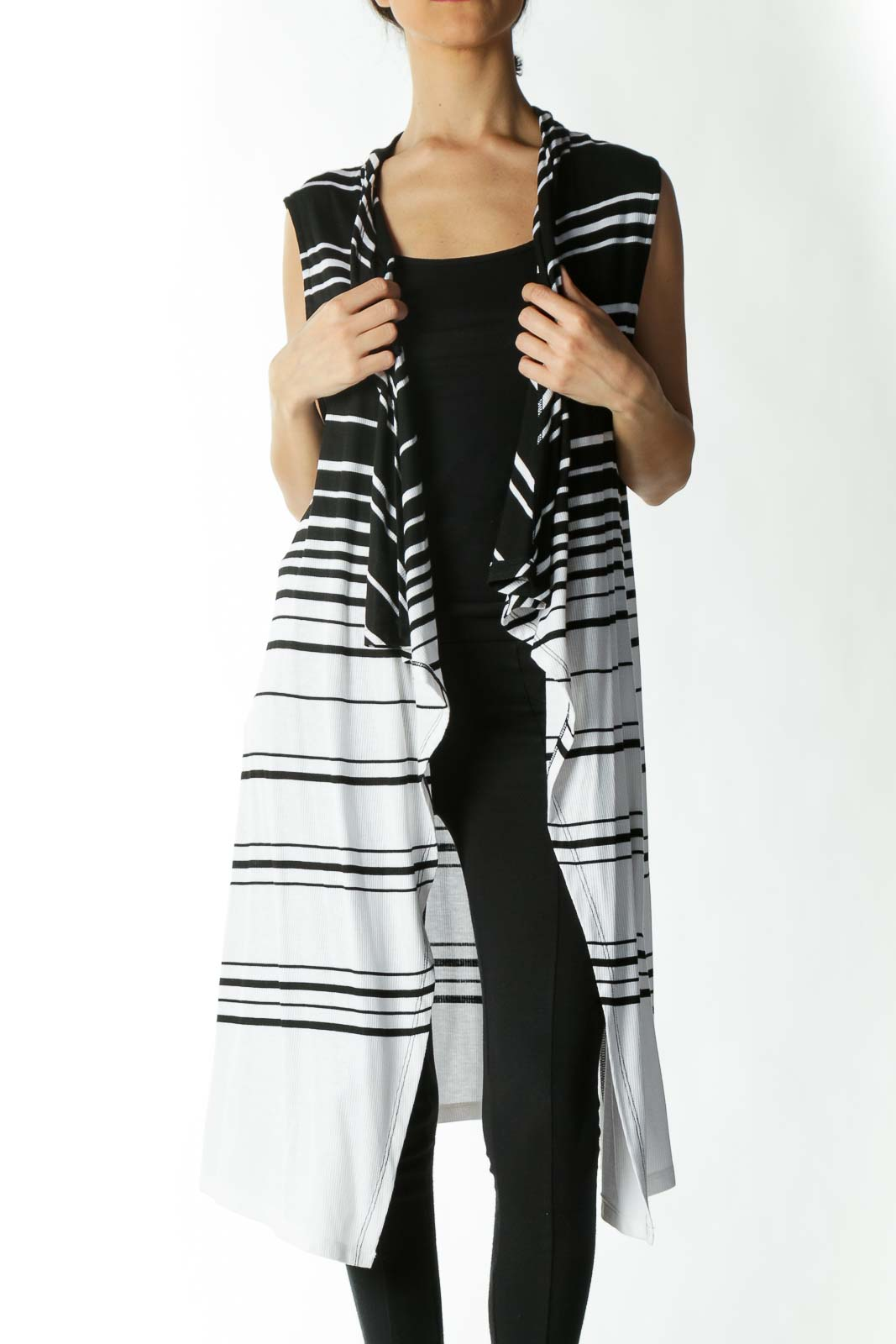 Black and White Long Vest  Front