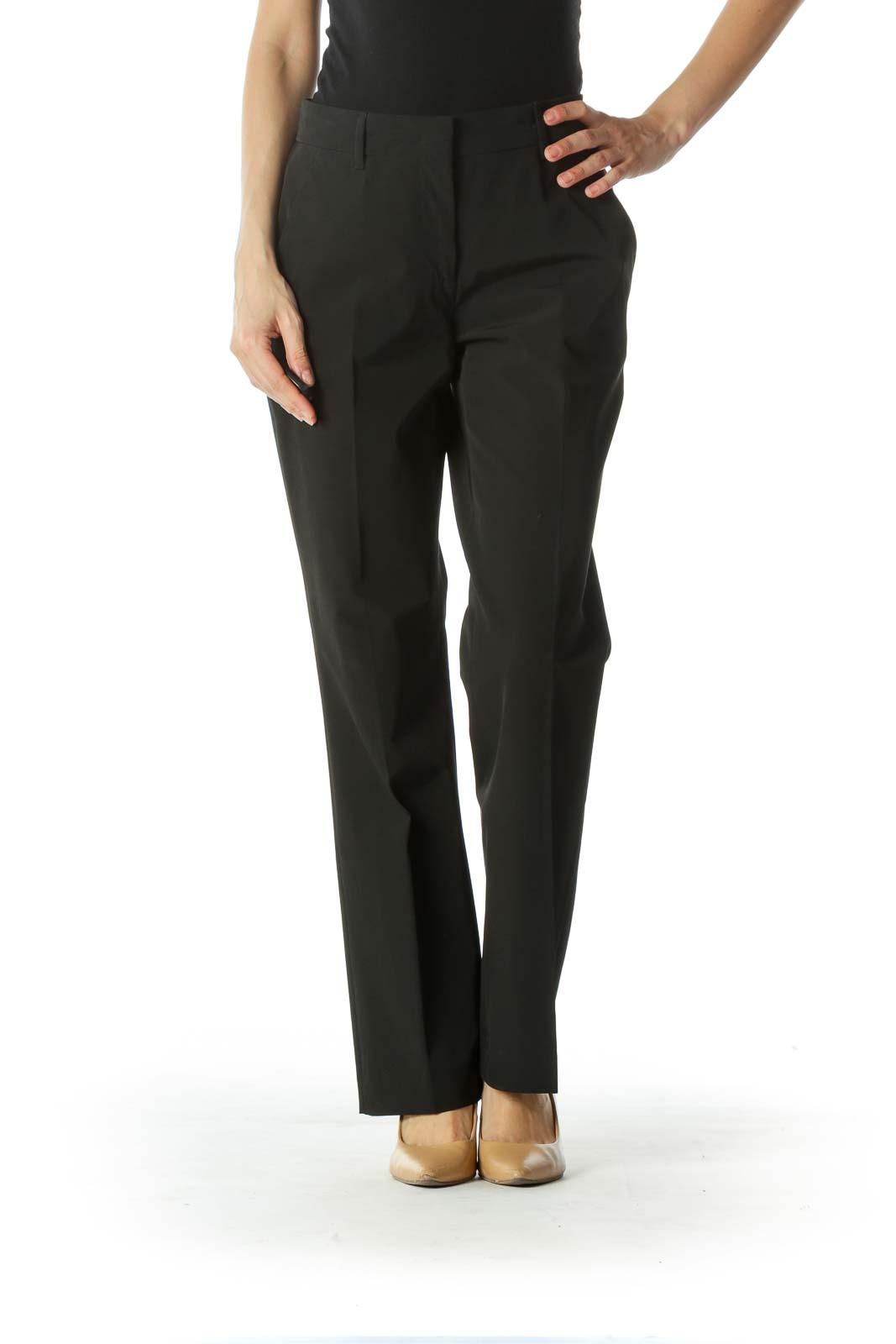 Black Designer Mid-Rise Dress Pant Front