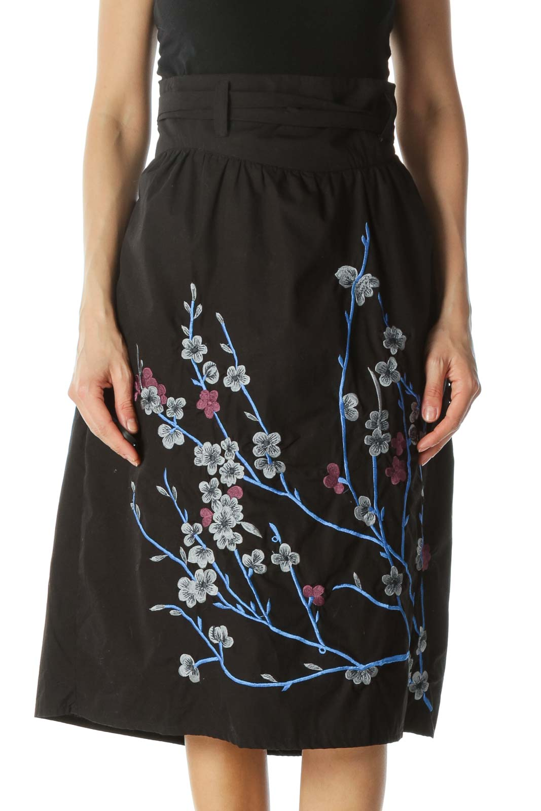 Black Floral-Embroidered Skirt Front