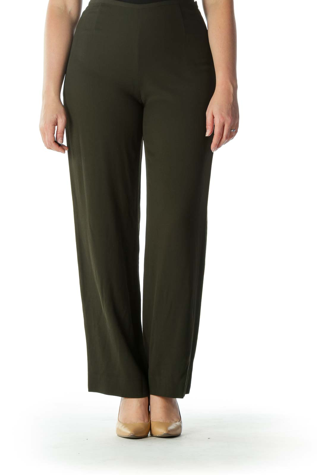 Army Green High-Waisted Designer Pant Front