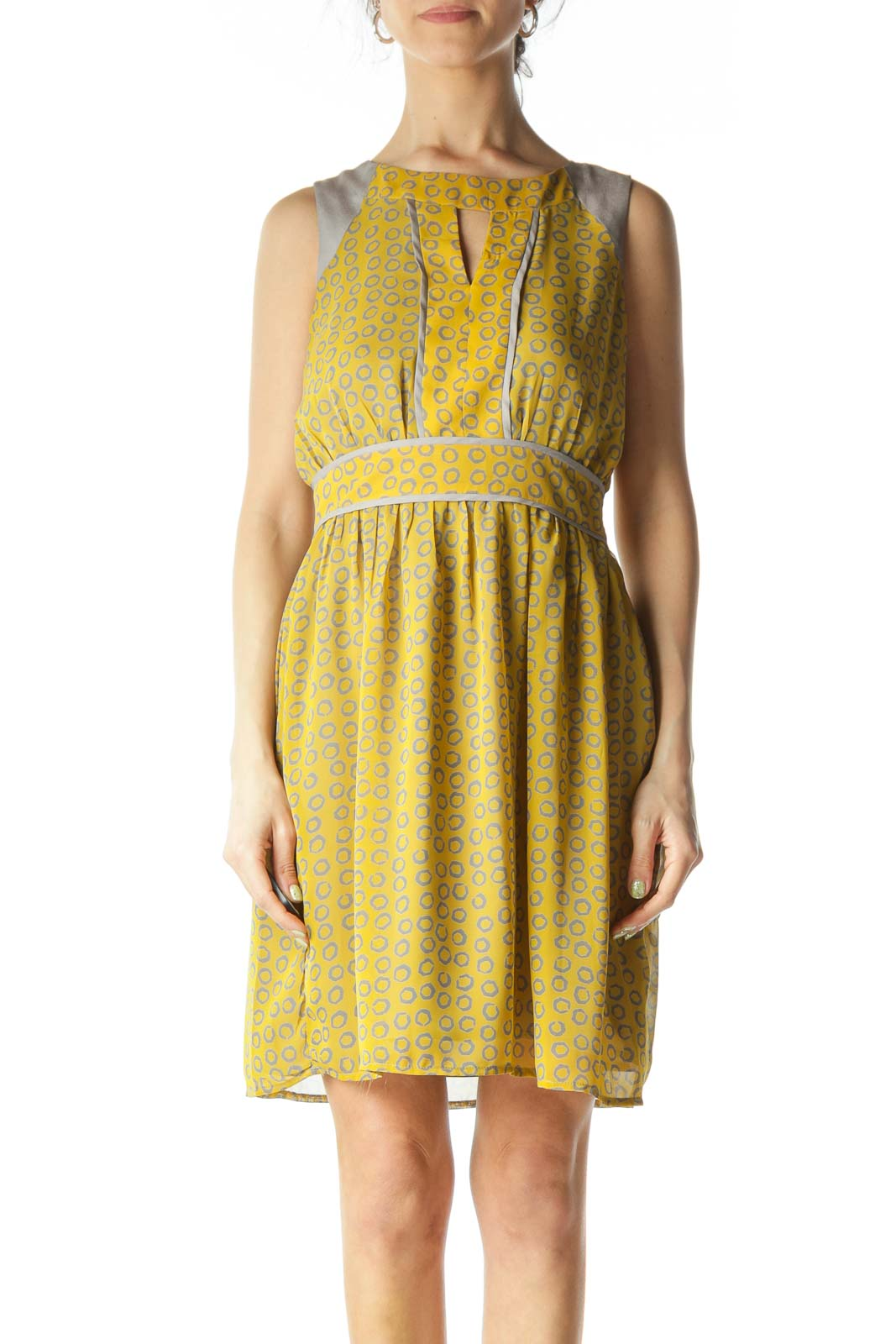 Gray and Yellow Circle-Patterned Peep-Hole Day Dress  Front