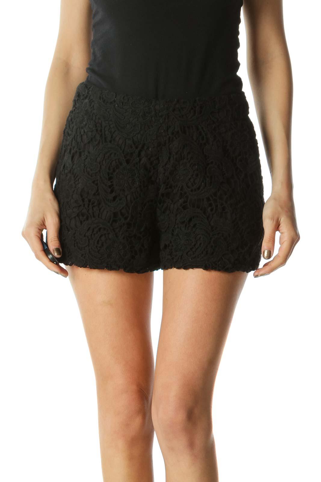 Black Laced 100% Cotton Shorts Front