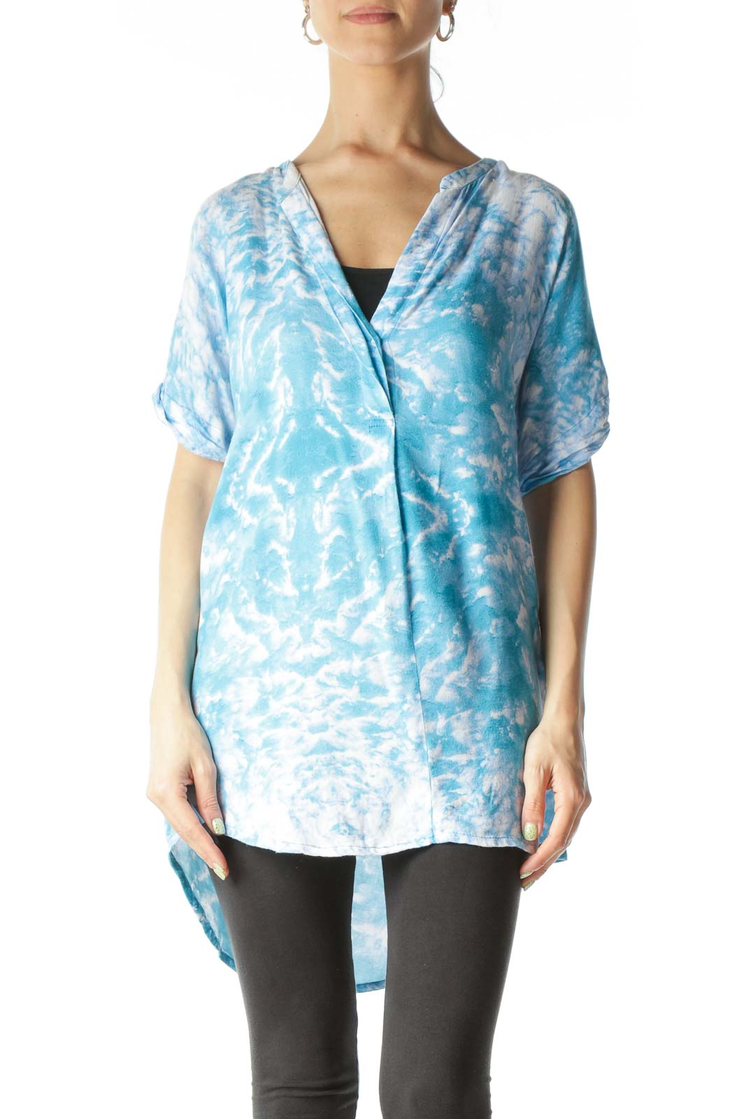 Blue and White Tie-Dye Patterned Asymmetrical-Fold Blouse Front