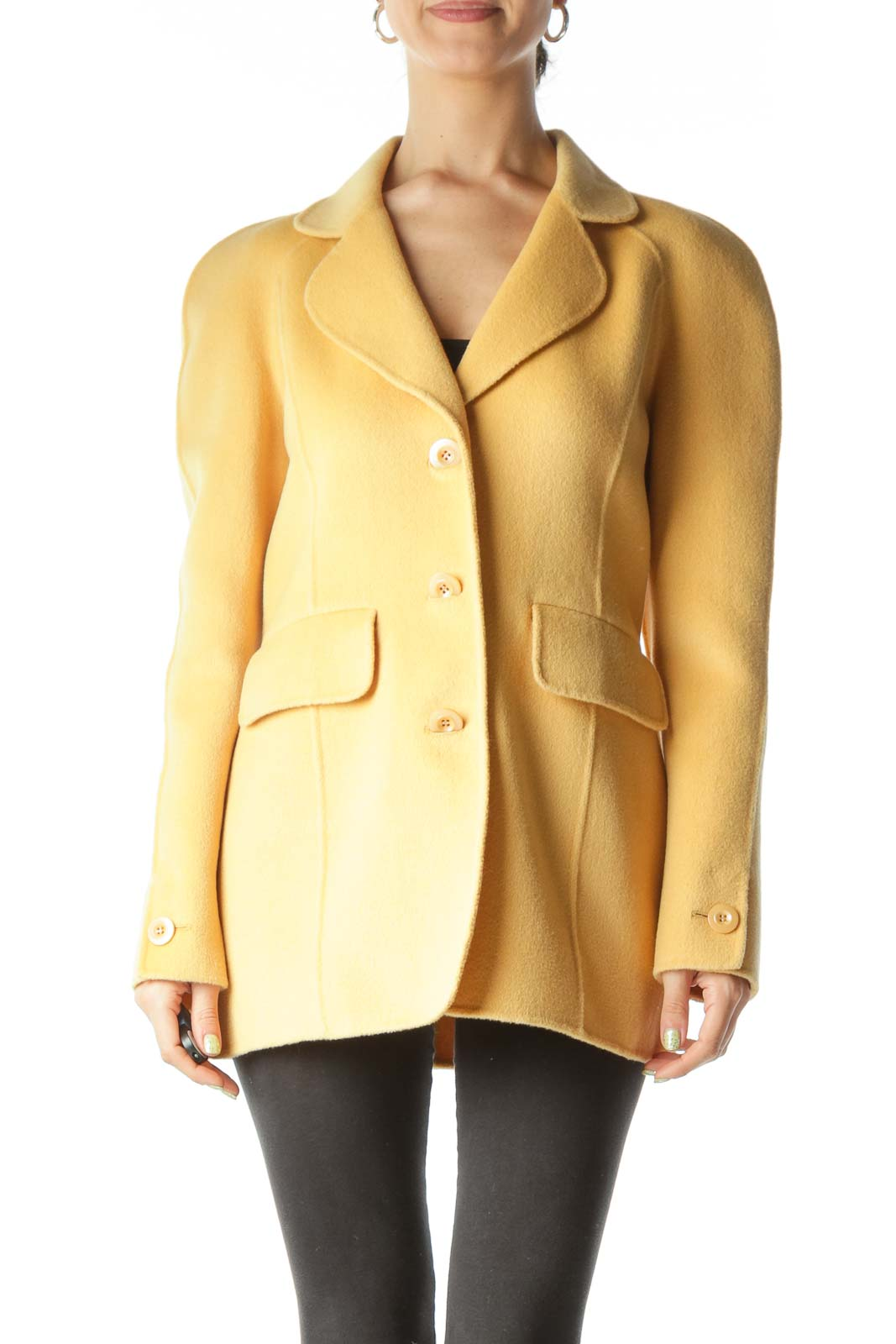 Yellow New Single Layer Wool Blend Coat  Front