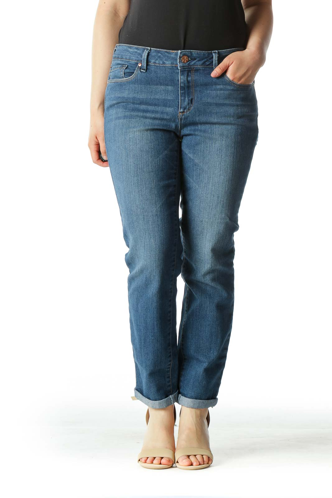 Blue Medium Wash Skinny Denim Jeans Front