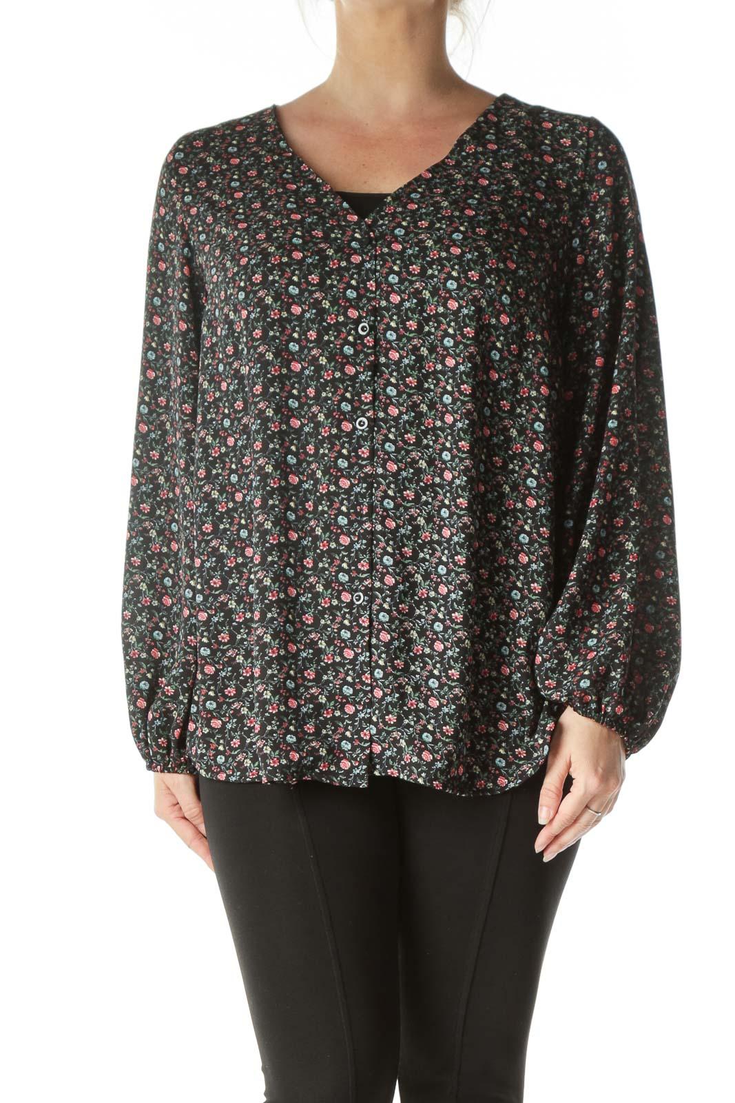 Black Floral Long Sleeve Blouse Front