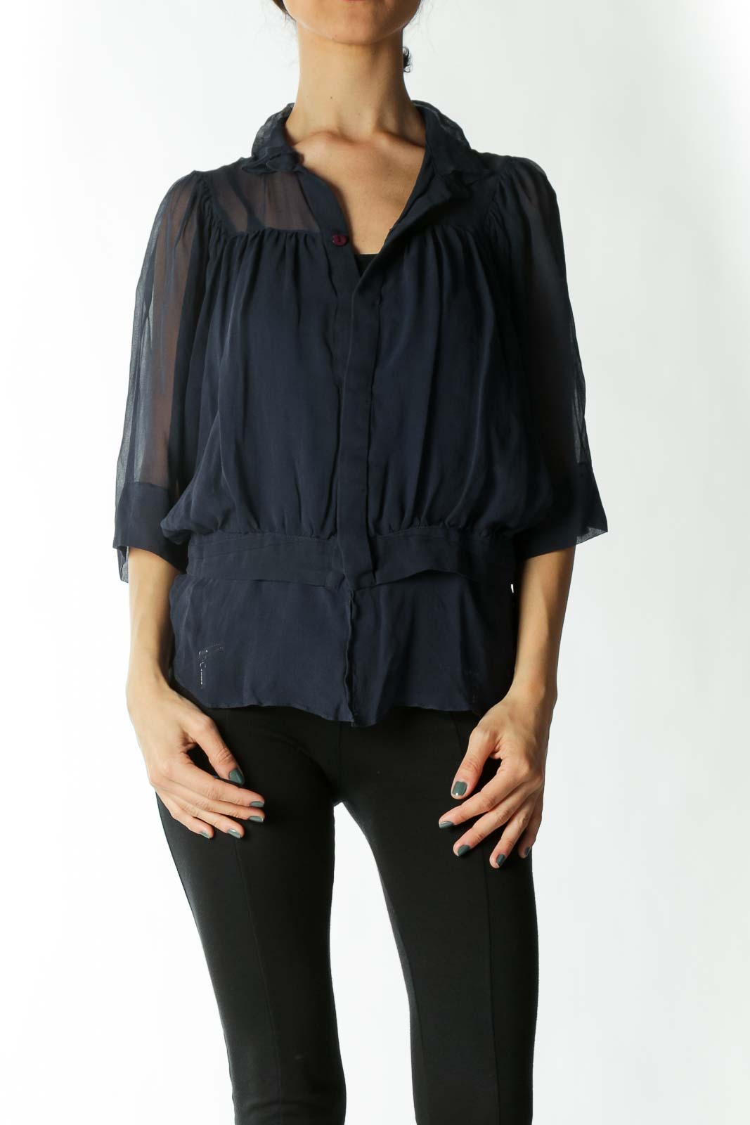 Navy Blue 100% Silk See-Through Flared Blouse Front