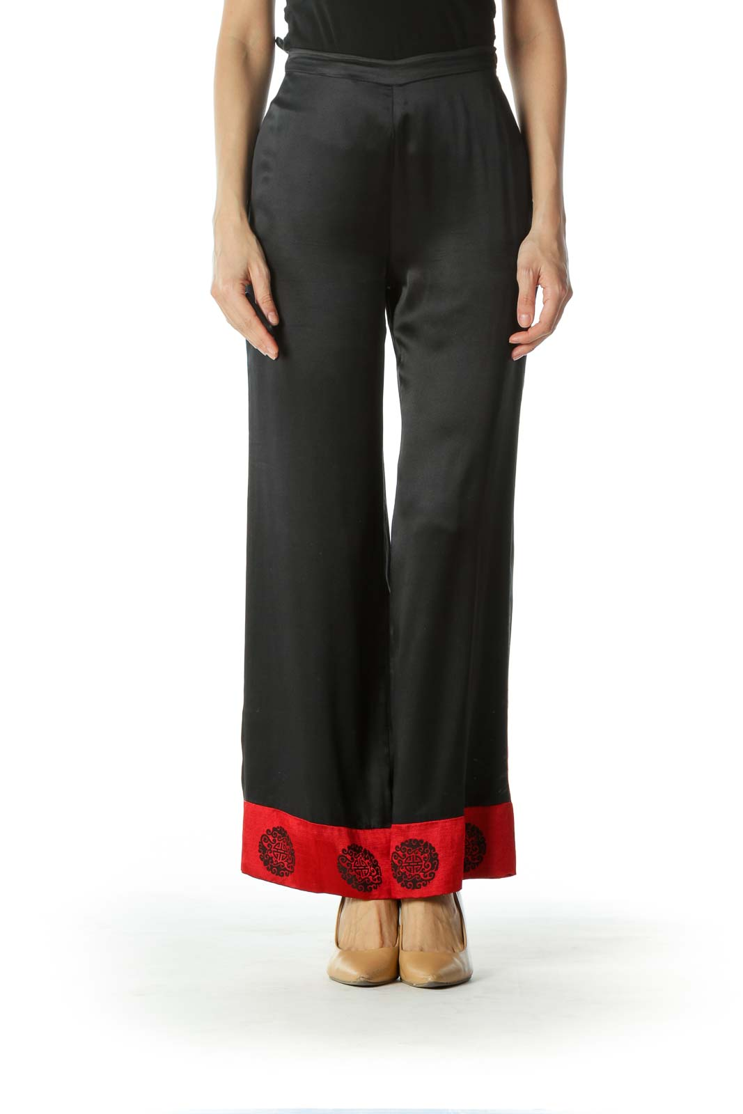 Black Red Jacquard Ankle Accents Light Silk Pants Front