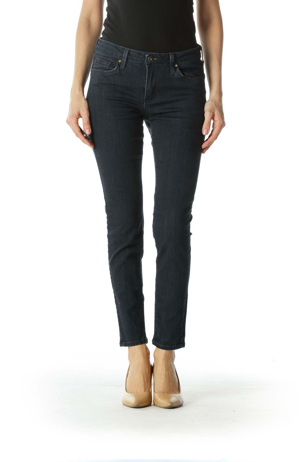 Blue Dark Wash Denim Skinny Jeans Front