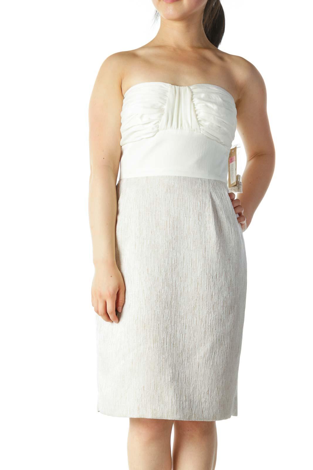 Cream Beige Strapless Textured Cocktail Dress Front
