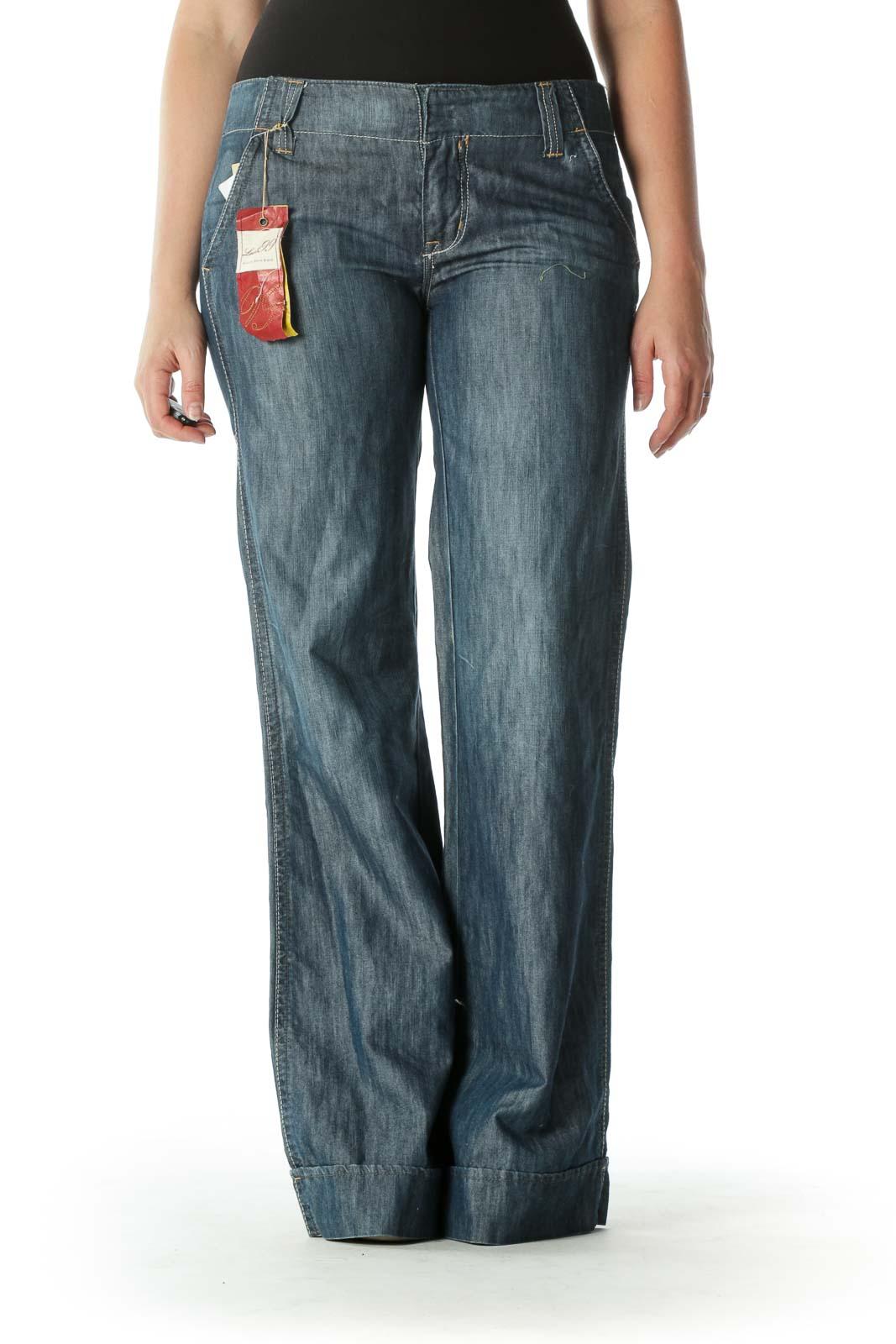Blue Dark Wash Wide-Leg Denim Jeans Front