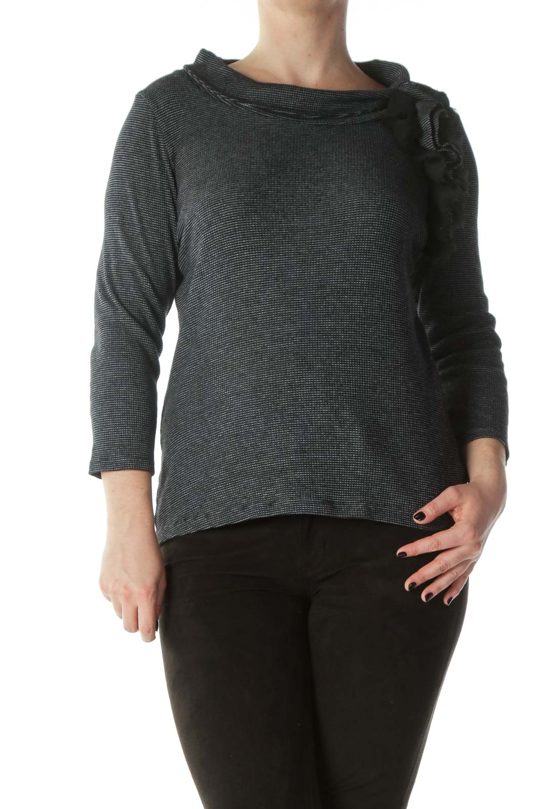 Black White Twill Ruffled Cowl Neck Top Front