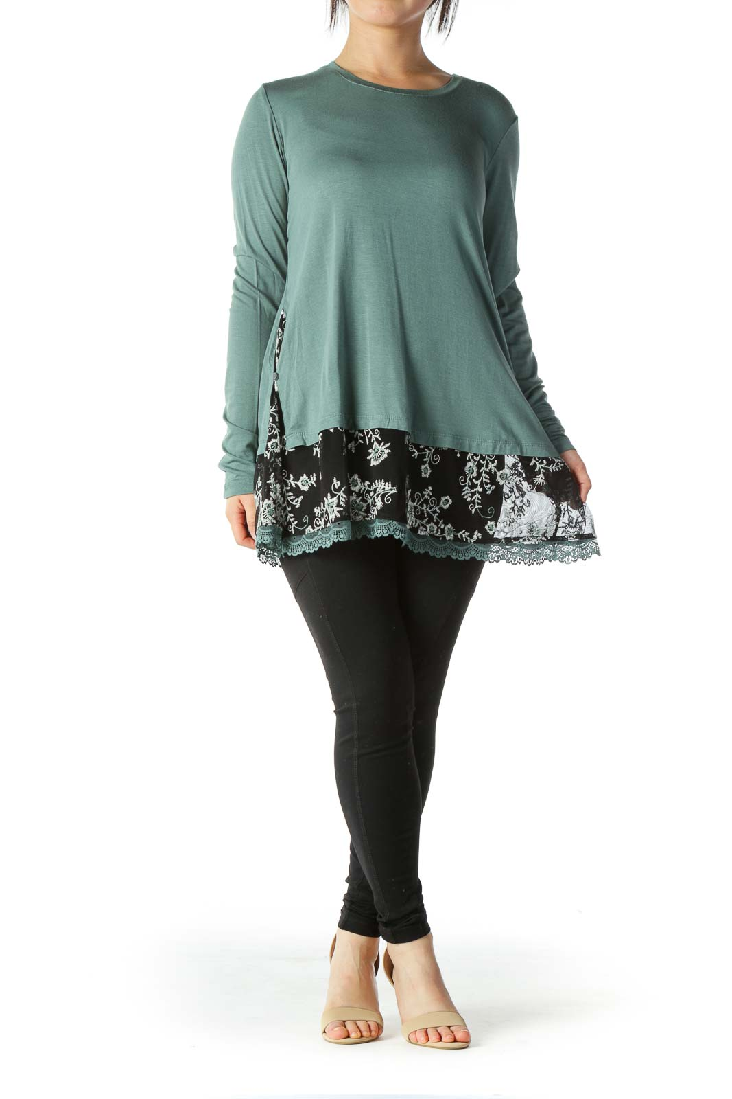 Turquoise Floral Embroidered Long Sleeve Top Front