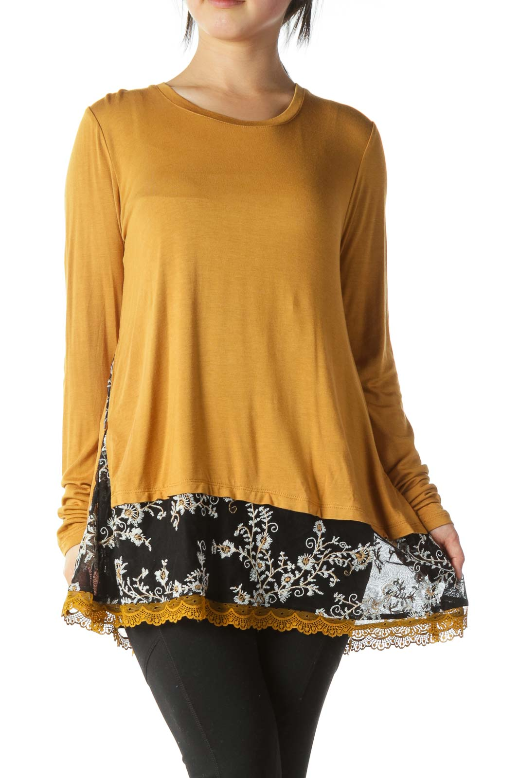 Mustard Black Mixed Media Floral Embroidery Top Front