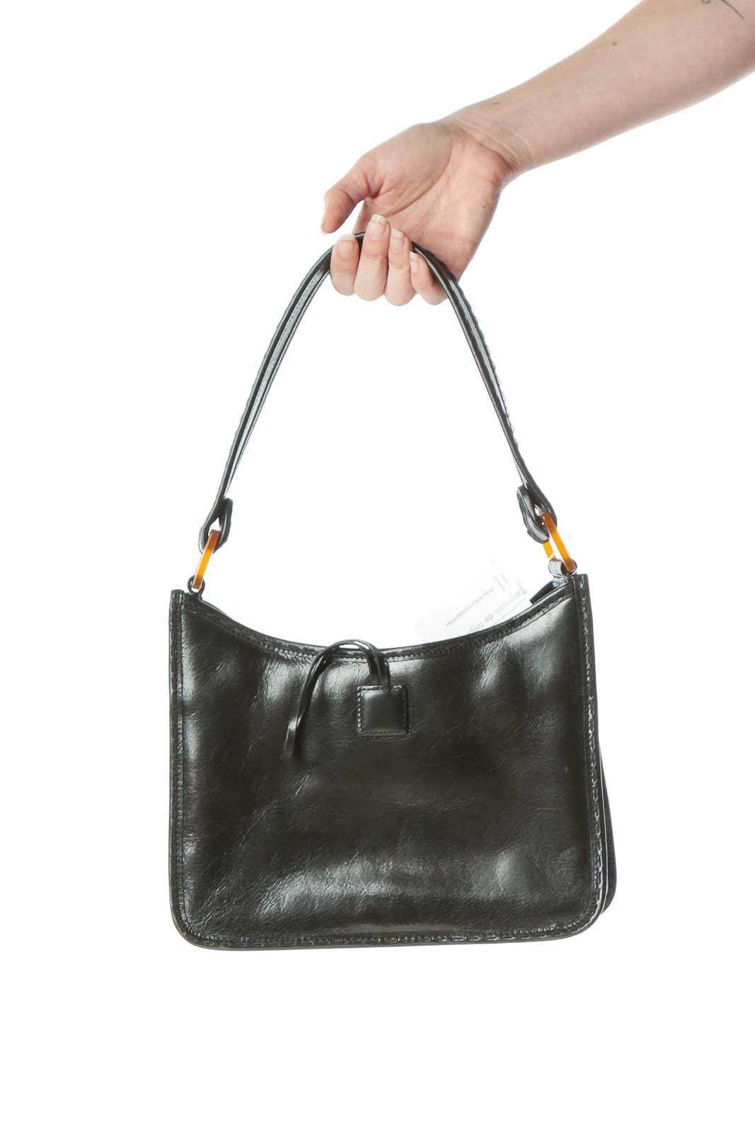 Black Leather Toggle Closure Detail Shoulder Bag Front