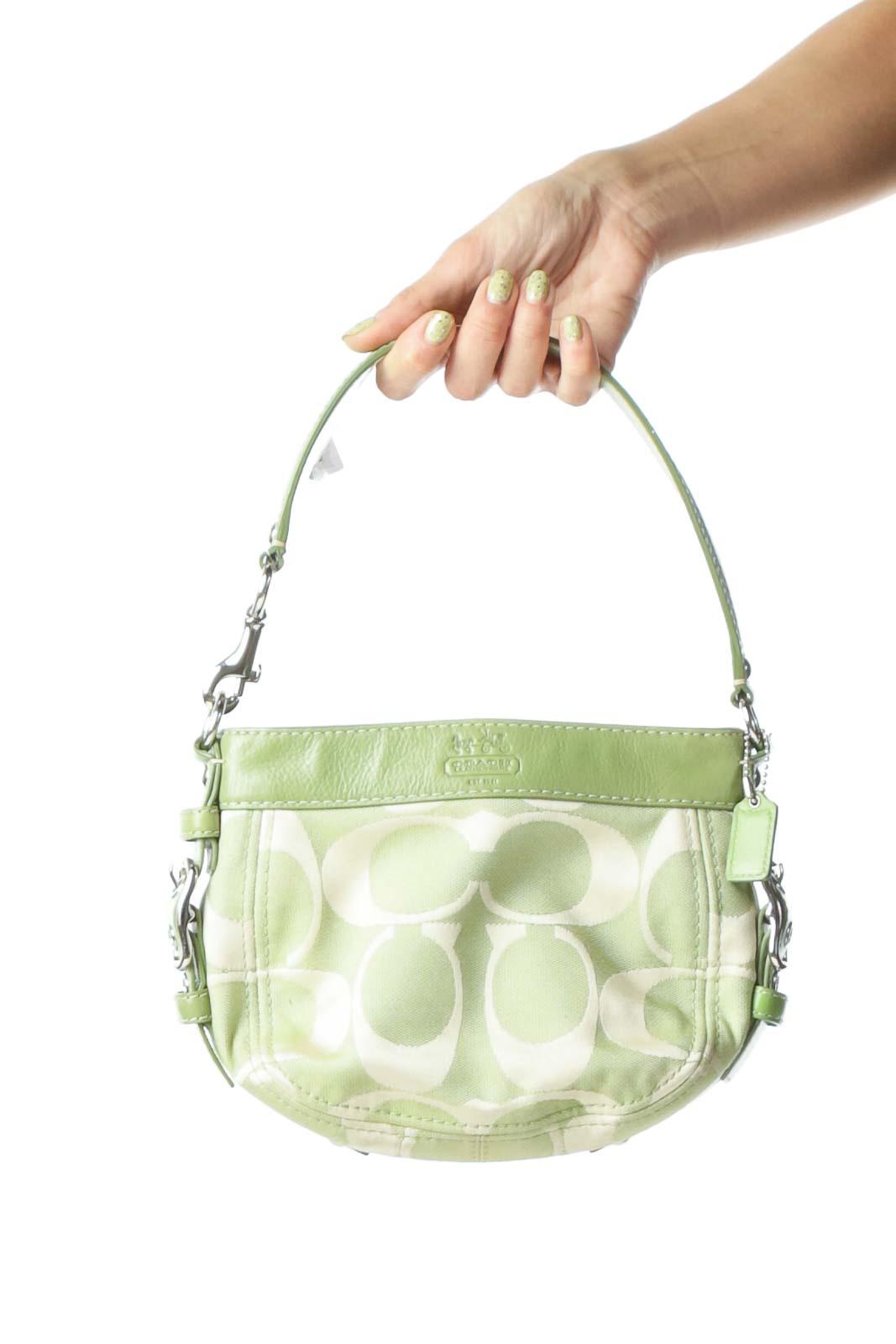 Green Monogrammed Leather Handbag Front