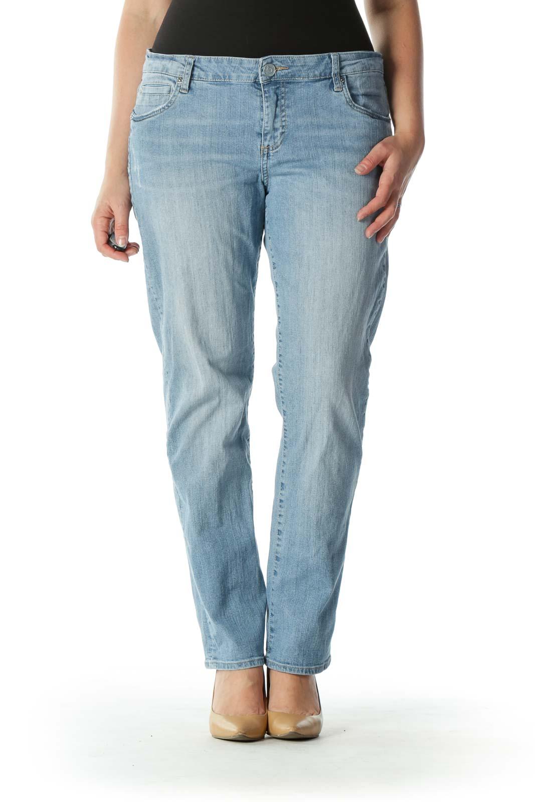Blue Light Wash Denim Skinny Jeans Front
