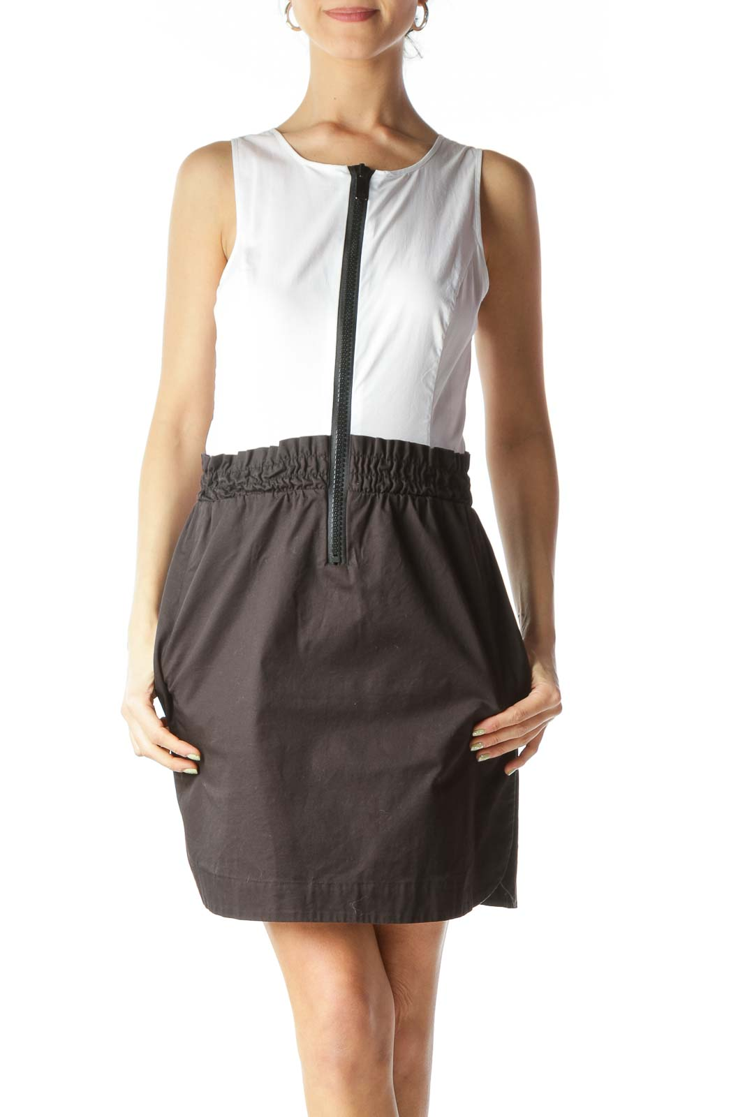 White Black Zipper Accent Pocketed Day Dress Front