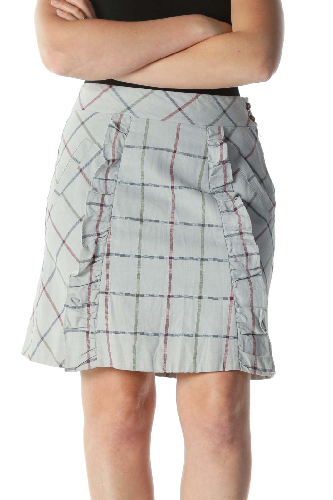 Gray Multicolor Plaid Ruffled A-Line Skirt Front