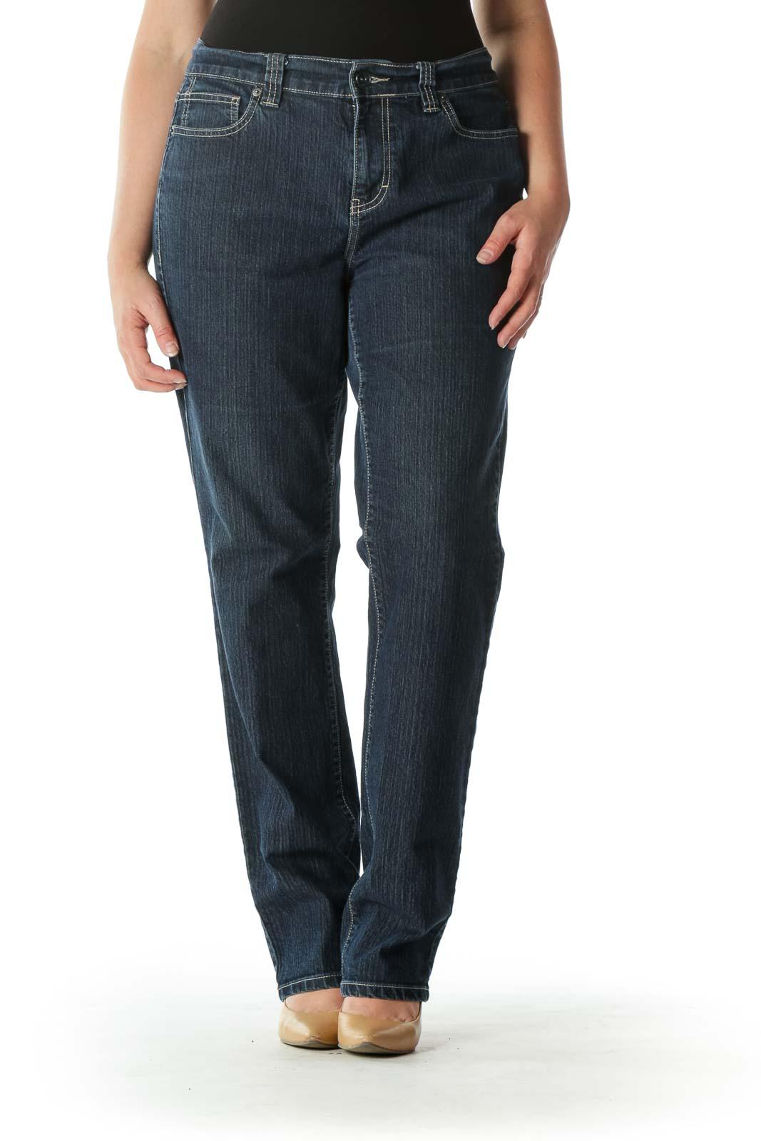 Blue Dark-Wash Stretch Skinny Denim Jeans Front