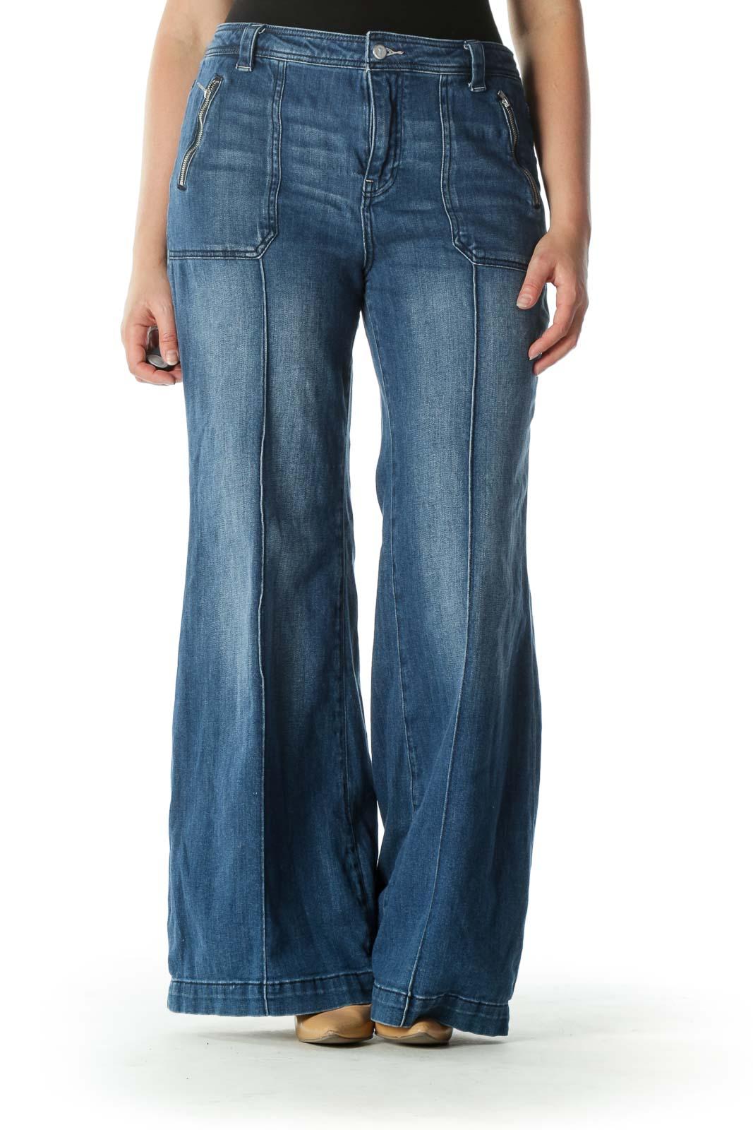 Blue Medium Wash Raised Seam Denim Jeans Front