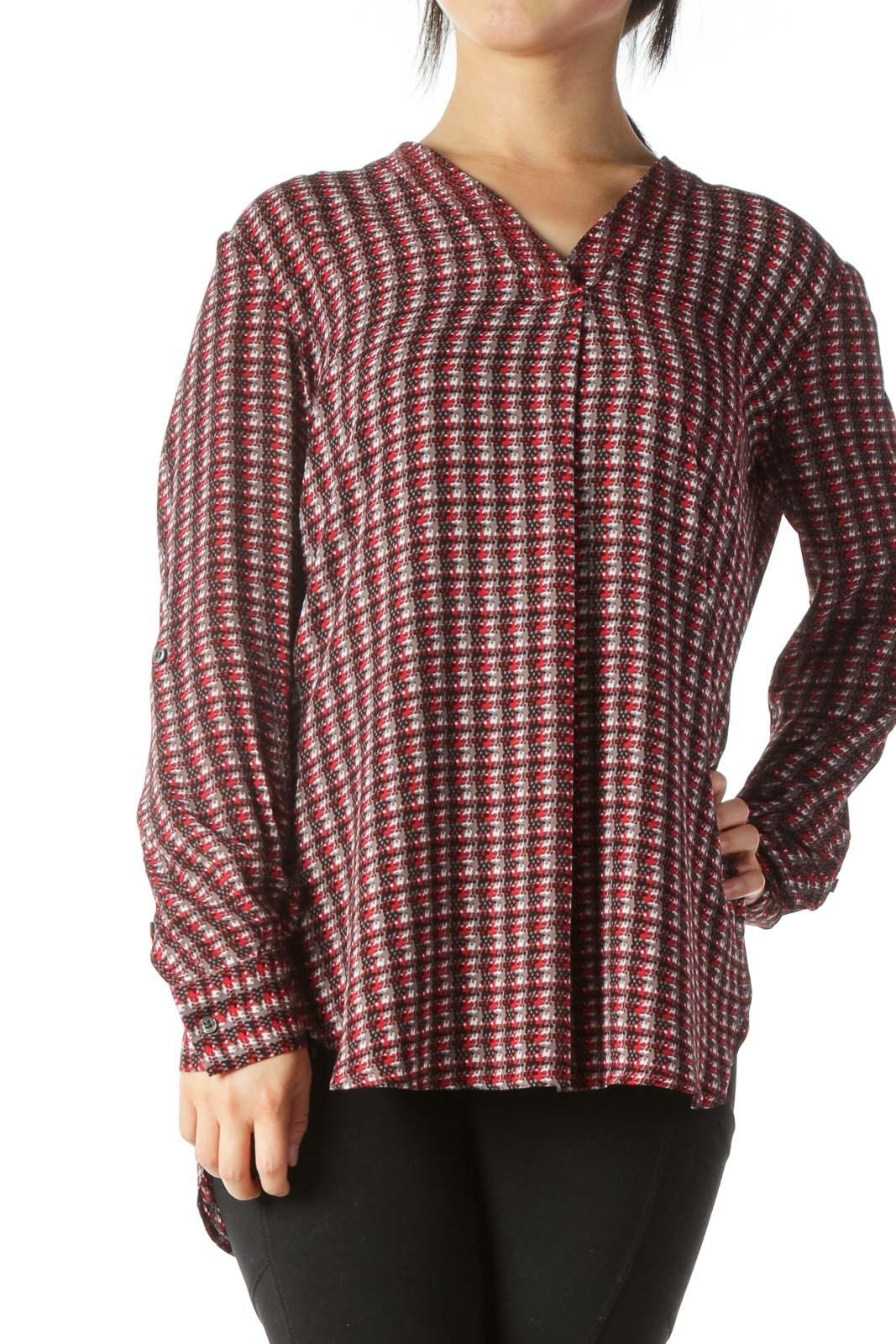 Multicolor Printed V-Neck Long-Sleeve Shirt Front