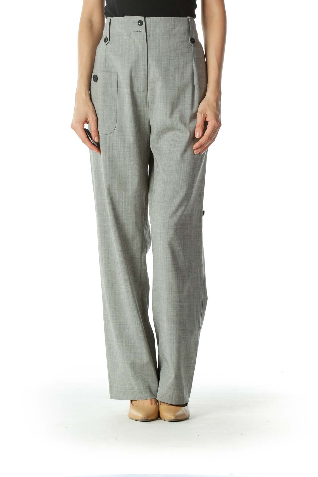 Gray High Waisted Wide Leg Pant  Front