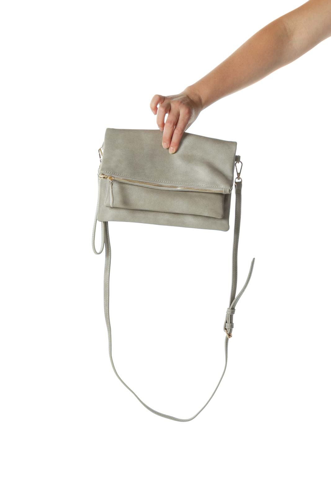 Gray Folded Cross-Body Bag with Adjustable Strap Front
