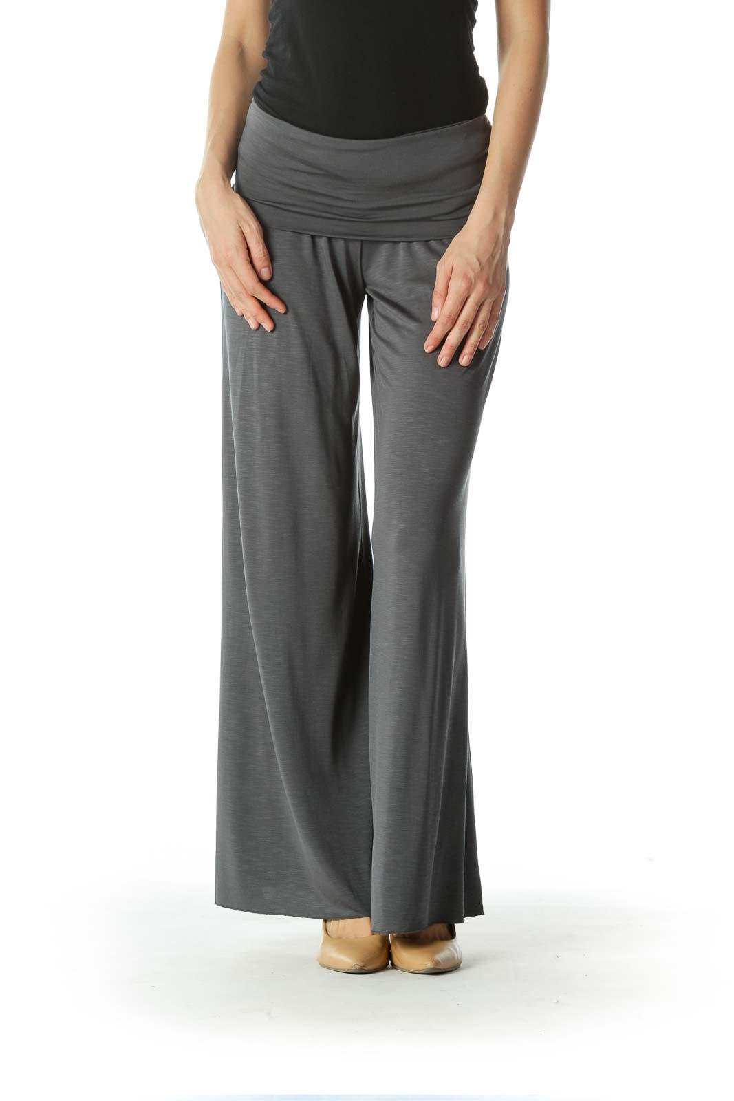Gray Gaucho High Waisted Pant  Front